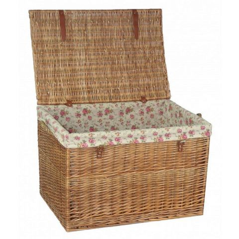 Cotswolds Jumbo Vintage Rose Wicker & Real Leather Trunk H 50 x W 75cm